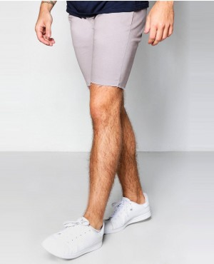 Slate Skinny Fit Raw Edge Chino Short