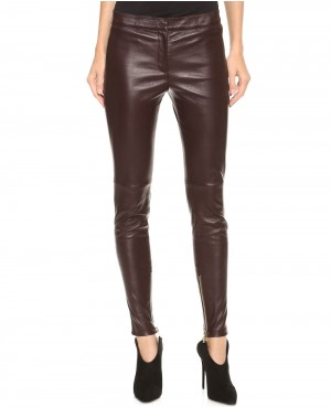 Slim Fit Shiny Meroon Leather Pant