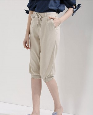 Smocked Cuffs Cropped Trouser