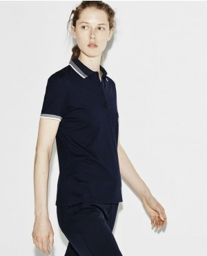 Sport Golf Contrast Accent Stretch Mini Pique Polo Shirt