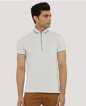 Step Hem Zipper Polo With Embroidered Logo