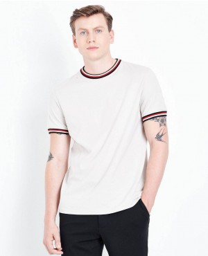Stone Contrast Trim Trendy White Color T Shirt