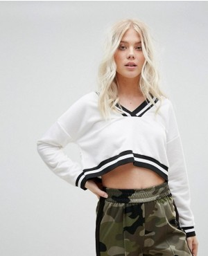 Street Cropped Sweatshirt With Stripe Tipping