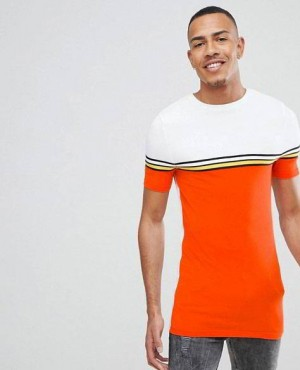 Street Style Muscles Longline T Shirt With Bright Colour Block And Taping In Orange