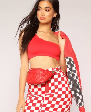 Street Style One Shoulder Crop Top Red And White Color