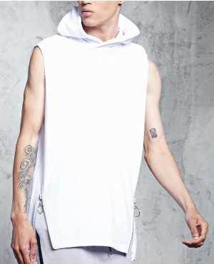 Street Style Side Zipper Sleeveless Hoodie