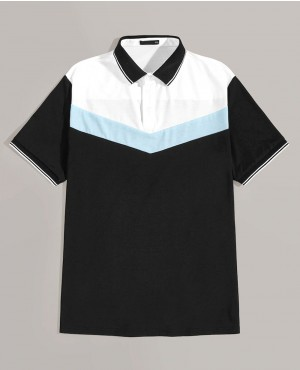 Striped Collar & Cuff Chevron Polo Shirt