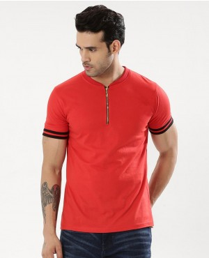 Striped Sleeve Polo With Zip