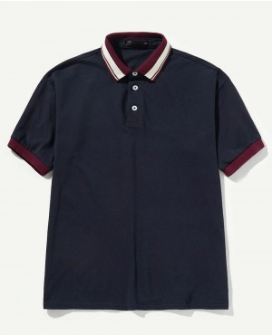 Striped Trim Collar Polo Shirt