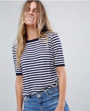 Stripes T Shirt With Contrast Collar