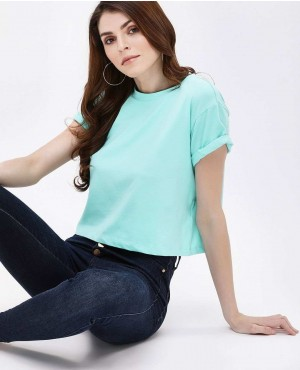 Stylish And Trendy Round Neck Basic Crop Top
