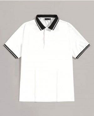 Stylish White Contrast Collar And Cuff Polo Shirt