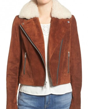 Suede Jacket with Genuine Shearling Collar