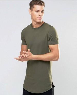 Super Longline Muscle T-Shirt With Curved Hem And Zips In Khaki Green