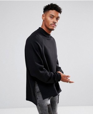 Super Longline Oversized Sweatshirt with Side Splits and Dropped Hem