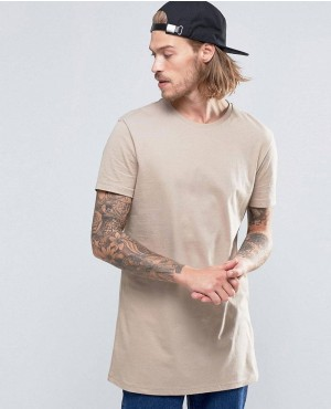 Super Longline T-Shirt In Beige