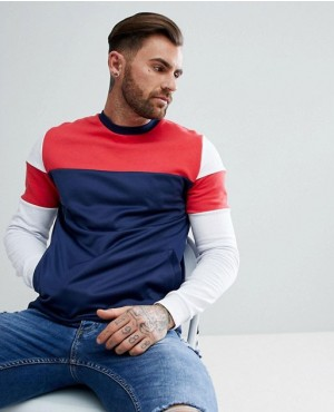 Sweatshirt With Colour Block And Poly Tricot Panels