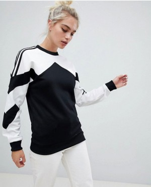 Sweatshirt With Contrast Panel In White And Black