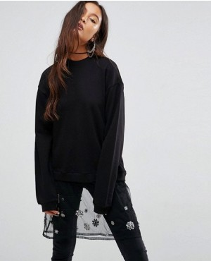 Sweatshirt with Embellished Mesh Layer