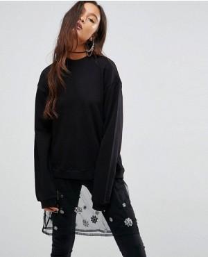 Sweatshirt with Embellished Mesh Layer