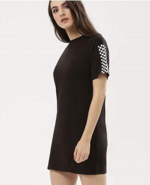 T-Shirt Dress With Check Sleeves