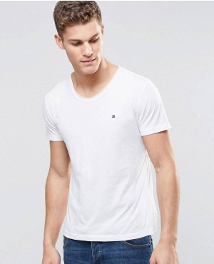 T-Shirt With Rolled Neck In White In Regular Fit