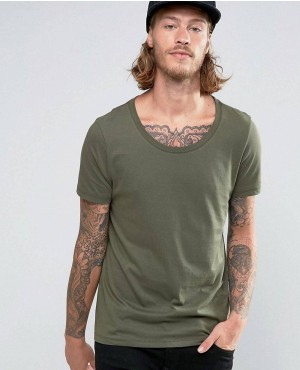 T-Shirt With Scoop Neck In Khaki