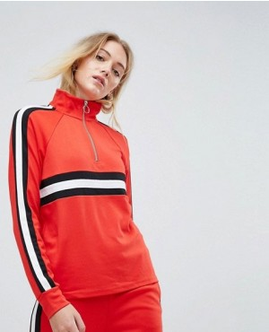 Tall Colour Block Pull Ring Zipper Sweatshirt