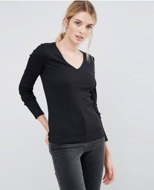 TALL Fitted V Neck Long Sleeve T-Shirt In Slub