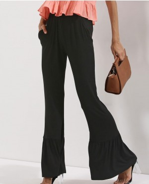Tier Hem Flare Jersey Trousers