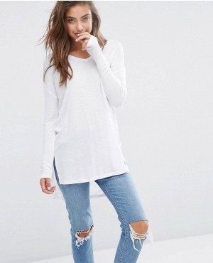 Top With V Neck In Slouchy Rib
