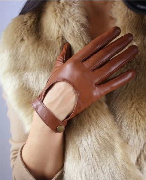 Touch Screen Genuine Leather Gloves Pure Sheepskin Black Short Silk Lining