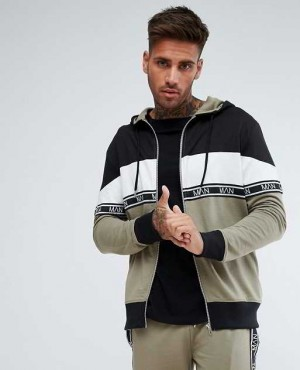 Track Jacket With Block Details with Woven Branded Stripe