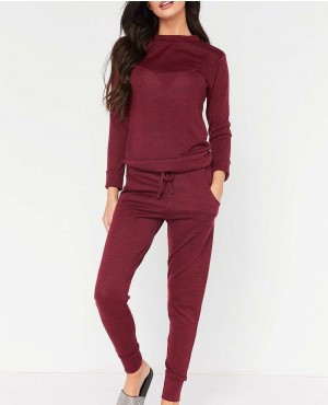 Tracksuits Solid Color Hooded Sportswear Women Clothing Two Piece Set
