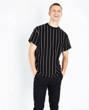 Trendy Black Vertical Stripes Print T Shirt