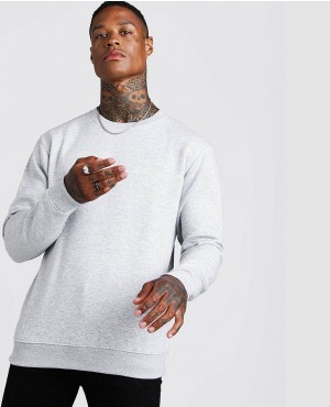 Trendy Grey Marl Basic Crew Neck Fleece Jumper Sweatshirt