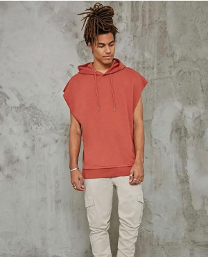 Trendy Raw Cut Sleeveless Hoodie
