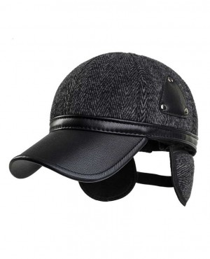 Unisex Ear Flap PU Leather Woolen Stripe Baseball Cap