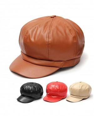 Unisex PU Faux Leather Custom Beret Hat