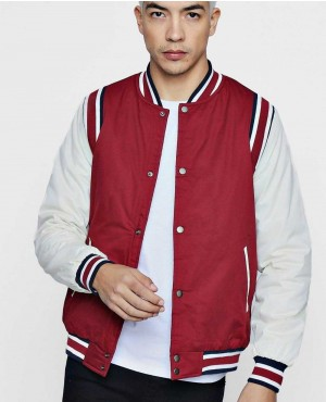 Varsity Bomber With Contrast Sleeve