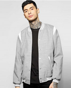Trendy Varsity Bomber With PU Inserts
