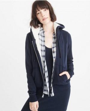 Warm Zipper Up Hoodie In Navy Blue Color