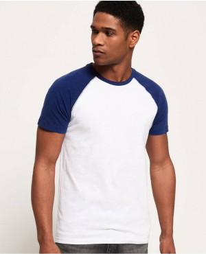 White And Navy Blue Baseball T Shirt With Cheep Price
