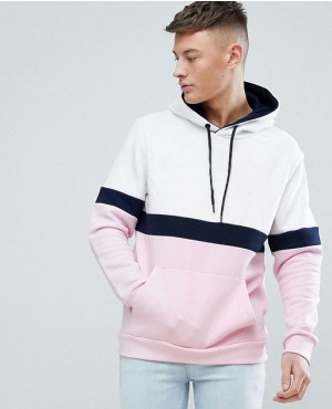 White And Pink Hoodie With Black Stripes
