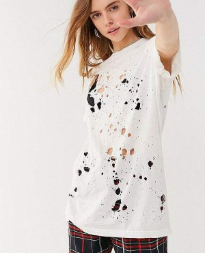 White Color Distressed Boyfriend T Shirt