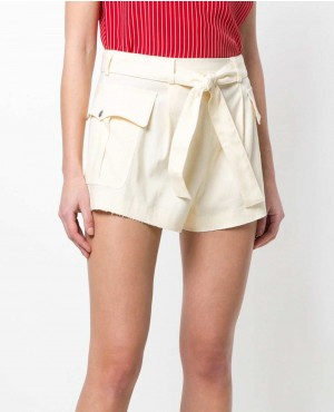 White Color Tie Waist Shorts