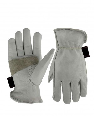 White Cowhide Work Gloves for Gardening
