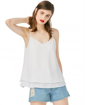 White Double Hem Fashionable Tank Top