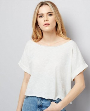 White Rolled Sleeve Oversized Crop Top