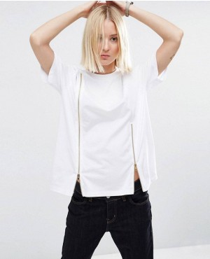 White T-Shirt With Zip Insert